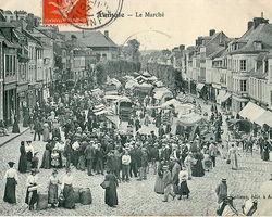 VILLIERS - ILLOIS - Vente sur le marché d'Aumale au début du XXe siècle