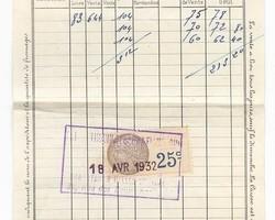 Bordereau de vente Halles de Paris 1932